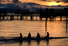 Rowing Crew in Port Townsend, Washington (EdBob) Tags: porttownsend row rowing crew shell boat four dawn sunrise washington washingtonstate westernwashington water travel transportation racing morning sport exercise people smoke stack pier harbor historic town oars speed ocean sea pacificnorthwest pugetsound salishsea america usa edmundlowephotography edmundlowe