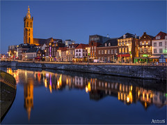 Roermond in Blue (AdelheidS Photography) Tags: adelheidsphotography adelheidsmitt adelheidspictures netherlands nederland roermond limburg roer bluehour blauwuurtje blue church tower churchtower reflection reflect cityscape citylights cityview holanda evening stchristophercathedral sintchristoffelkathedraal niederlände maas meuse river water canoneos6d