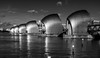 The Thames Barrier, Greater London, England (Aethelweard) Tags: london england unitedkingdom gb river barrier thames flood water blackandwhite canon scenery stunning beautiful landscape black sky clouds reflection metal efs18135mmf3556isstm white blackwhite urban photography
