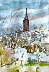 Allée Colette Besson 26-11-2017 (messerchristophe) Tags: cathédrale de strasbourg alsace croquis urbain allée colette besson urban sketching aquarelle