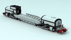 """LSHG-4, Locomotive, Steam, Heavy, Garrett, 4-8-2+2-8-4, """"White Pearl"""" (The Driving Dutchman) Tags: lshg4 locomotive steam heavy garrett 482284 white pearl lego ldd ldd2povray povray trains train"""