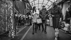 Happy Shoppers (devil=inside) Tags: bw monochrome market people birmingham shopping handphotography sony a77 outdoors street