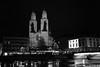 Great Minster Zurich (Toni_V) Tags: l1000615 rangefinder digitalrangefinder messsucher leica leicam9 35lux 35mmf14asph 35mmf14asphfle summiluxm night nightshot nacht greatminster grossmünster limmat limmatquai city stadt zurich zürich helmhaus switzerland schweiz suisse svizzera svizra europe bw monochrome sep2 silverefexpro2 niksoftware schwarzweiss church kirche ©toniv 2017 171201
