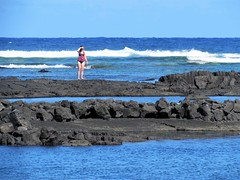 Lava rock snorkeling spot (thomasgorman1) Tags: view lava lavarock rocky sea tidepools ocean outdoors nature woman swimwear hawaii island canon waves shore snorkeling pacific kapoho