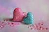 Hearts (Through Serena's Lens) Tags: 52stilllifes hearts rhinestone buttons bokeh dof stilllife pink blue glitter