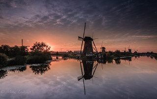 An evening with windmills