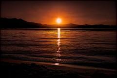 Sunset Lake 8:10pm textured (joe Lach) Tags: alpinelake inyonationalforest joelach laketahoe mountain orange sierranevada silver sunsetlake yellow waves sunset textured reflection sky