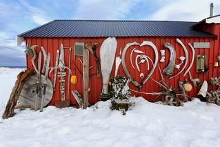 Eccentric ornate on rorbu-traditional fishing hut exterior. Straumnes-Vagan-Austvagoya-Lofoten-Norway. 0614