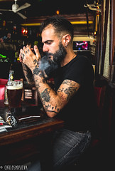 Fau... old guy in a young armour (CarlosMDSilva) Tags: people photography portrait vintage tattoo pipe pub bar smoke smoking lisboa portugal foxtrot 20 30 40 age interview brother friendship drink selfie
