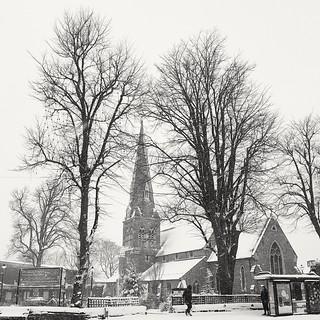 All Saint's Church, Kings Heath, on a snowy Sunday morning.