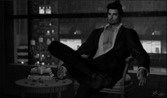 Want Me To Take Care Of You (Broderick Logan) Tags: secondlife second life sl avatar virtual world 3d gabriel wrong owl men only monthly photography black white bw