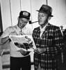 5-1964a-Frank Sinatra y Bing Crosby (cinenegro50) Tags: blackandwhite baseballhat fedora plaidsuit pipesmoking reading smiling 12length musician