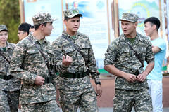 Kazakh Cadets (peterkelly) Tags: kazakhstan almaty asia gadventures centralasiaadventurealmatytotashkent canon 6d digital camouflage army cadets cadet men hat uniform belt