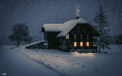 Romantic Winter Evening (VandenBerge Photography (On/off ....but mostly off) Tags: evening winter season weather emmental farmhouse trees road snowing snow snowscape smokingchimney light canon cantonberne switzerland lonelyplanet landscape