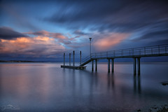 serenata tranquilla (judith.kuhn) Tags: jetty water lakeconstance immenstaad germany sky clouds sunset dusk