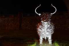 Highland Coo in Steel (steve_whitmarsh) Tags: statue metal night lights sculpture cow aberdeenshire scotland