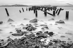 pier ruins (eb78) Tags: ca california bw blackandwhite monochrome greyscale grayscale eastbay flemingpoint albany pier abandoned decay longexposure