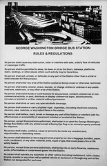 Rules and Regulations, George Washington Bridge Bus Station, Washington Heights, New York City (jag9889) Tags: jag9889 usa building manhattan newyork outdoor uppermanhattan georgewashingtonbridgebusstation 20171115 2017 text poster newyorkcity washingtonheights blackandwhite regulation sign rules panynj indoor 1963 architecture bw bus busterminal gwbbusstation gwbmarket gwbbs house monochrome ny nyc pierluiginervi plakat portauthority portauthorityofnewyorkandnewjersey terminal unitedstates unitedstatesofamerica wahi us