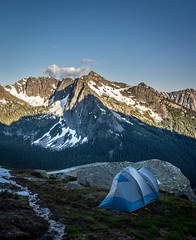 My camp at the base of Cutthroat Peak, North Cascades National Park, taken last summer. I made so many incredible memories over the summer and I have a feeling the next will be even better! (plottsdaniel) Tags: nature outside create sunset evening summer mountains explore camping camp landscape evergreenstate washingtonstate washington seattle pnw nikkor nikon northcascadesnationalpark northcascades