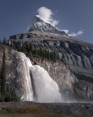 Emperor Falls (robertdownie) Tags: landscape river person waterfall mountain sunny cloud day cascade falling cliff peak flowing huge giant spray rockymountains steep emperorfalls canada bc britishcolumbia mountrobson berglaketrail