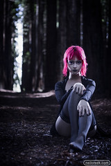 Woman of the Woods 1 (neilcreek) Tags: goth girl dark lowkey spooky spoopy lingerie redhead stockings fashion redwood forest trees flash strobist sitting cute fierce feet hands makeup nails colouredhair
