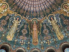 Detail showing some of 12 tile mosaic angels in the interior of the historic 1908 Lakewood Memorial Chapel in Minneapolis, Minnesota, The chapel was designed by architect Harry Wild Jones with mosaics by designer Charles Lamb of Lamb Studios in New York. (thstrand) Tags: byzantinerevival 1909 1908 19001909 1900s 1900 early20thcentury us usa unitedstates charleslamb harrywildjones christian dome artwork visualarts decorativeart architecturalelements architecture church american minnesota mn minneapolis colorfultile mythologicalcreatures religioussymbols religion cemetery angels angel mosaics mosaictiles interior lakewoodmemorialchapel