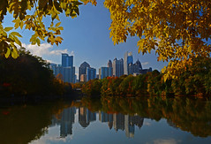 Atlanta Skyline From Piedmont Park (davidwilliamreed) Tags: autumn leaves fall color atlantaskyline piedmontpark lakeclarameer atlantaga fultoncounty reflections
