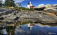 Reflections of Maine (pandt) Tags: pemaquidpoint light lighthouse bellhouse bristol maine coast coastal sea ocean seaside newengland northeast outdoor sky rocks water relection hdr white red blue green clouds canon eos 7d slr landscape reflection reflect
