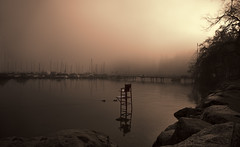 Off duty (charhedman) Tags: deepcove pacificocean northvancouver redlifeguardchair hightide fog ilovefog mysterious ducks pier boats reflections