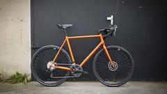 Orange Gravelcross veloheld (veloheld) Tags: veloheld veloheldiconx gravelbike gravelracer cyclocross crossbike steelisreal signalorange shimano hope brooks