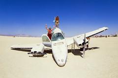Lost cargo (mooet) Tags: 2017 burningman color diapo dslrscan film nikonf3 usa velvia50 fisheye filmisnotdead nevada desert sky blue people fun playa plane slide