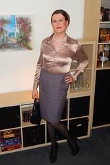 Ladylike... (Rikky_Satin) Tags: satin silk blouse skirt highheels peeptoe pumps transformation transformed feminization mtf crossdresser transvestite transgender tranny tgirl tv cd sissy secretary