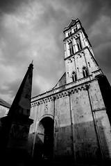 Trogir, Croatia (pas le matin) Tags: tower architecture sky ciel building clouds nuages travel croatia trogir croatie europe europa hrvatska city ville world voyage nb bw noiretblanc blackandwhite canon 7d canon7d canoneos7d eos eos7d