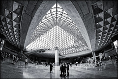 France - Paris - Louvre fisheye interior_mono_DSC7272 (Darrell Godliman) Tags: franceparislouvrefisheyeinteriormonodsc7272 fisheye 8mm wideangle samyang louvre paris france europe impei architecture travel