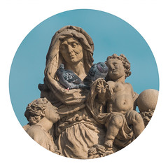 Cuteness Overload (Goran Patlejch) Tags: prague praha praga prag saintanne charlesbridge sculpture baroque stone pigeons birds woman lady saint