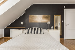 Attic spaces (Rex Homes) Tags: attic painting bedroom lamps cabinets bedside pillow striped bed interior kingsize wall home modern room mansion flat bedding furniture classic bedsheets house gold hotel door loft design white arrangement cozy apartment bright nightstands cushions mirror artwork poland