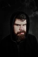 derrik_rook (Laura Wienk) Tags: man dark anger smoke moody beard photoedit digital photoshop hoodie