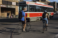 Red Rocket (geowelch) Tags: toronto dundasstwest ttc publictransit bicycles afternoon streetcar sonya6000 sonysel185535561855mm