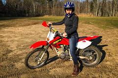 Hayleys first motorcycle ride (brentdanley) Tags: johndebartolo hayleydanler dirtbike motorcycle scarborough maine unitedstates us