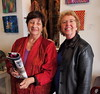 Traudi Thornton (L) and Martha Hayes (photos-by-sherm) Tags: traudi thornton art bloom gallery wilmington nc downtown november 2017 pottery ceramics painting reception
