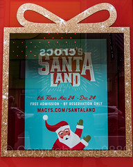 "2017 Holiday Window Display ""Santa Land"" at Macy's Herald Square, New York City (jag9889) Tags: 2017 2017holidaywindowdisplay 20171127 34thstreet christmas departmentstore display heraldsquare holiday macy macys manhattan midtown ny nyc newyork newyorkcity outdoor reflection retail santaclaus sign store storewindow text usa unitedstates unitedstatesofamerica window jag9889"