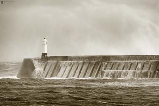 Wet Porthcawl pier & lighthouse