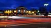 Busy Staub Square - Hamburg, NY (DTD_9491-85-93-94) (masinka) Tags: motion traffic circle blue hour dusk sky staub square hamburg ny buffalo southtowns juicy burger bar main cityscape urban photography etbtsy danielnovakphoto busy light trails longexposure roundabout