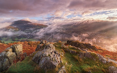 Morning Has Broken (Adam West Photography) Tags: adamwest autumn beauty bracken clouds composition crag cumbria england fells fog grass heritage lakedistrict landscape loughrigg mist national rocks stone trees uk windermere color colour dawn fell heavenly hill mountain sunrise view vista