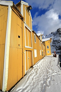 Wooden port warehouse painted yellow-closed doors and windows. Nusfjord-Flakstadoya-Lofoten-Norway. 0518
