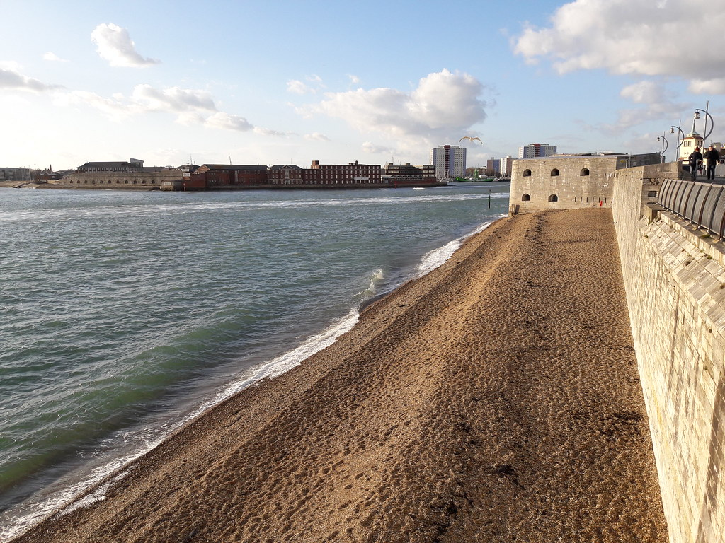 Old Portsmouth seashore and walls