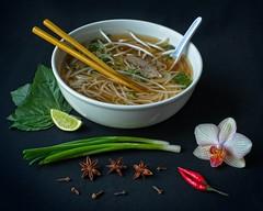 Pho Soup Still Life 5010 C (jim.choate59) Tags: pho soup food stilllife jchoate onion orchid staranise pepper lime bowl chopsticks spoon flower d610 on1pics