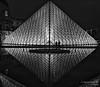 Super symmetric culture triangles (PassionatePhoto) Tags: louvre paris pyramid pirâmide symmetry symmetric reflex bw black white