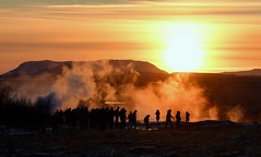 Geysir Geothermal Area, Iceland, within the Haukadalur Valley. (One more shot Rog) Tags: icelandic ice temperature hot boiling geysirs geysir spouting spouts bursts steaming steams steam smoky smoke smoking geothermal hotsprings haukadalurvalley haukadalur