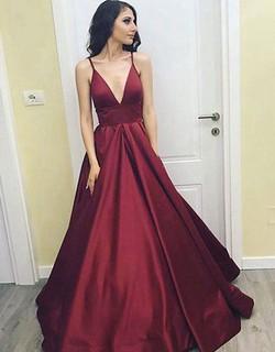 Sexy Deep V-Neck A-Line Prom Dresses